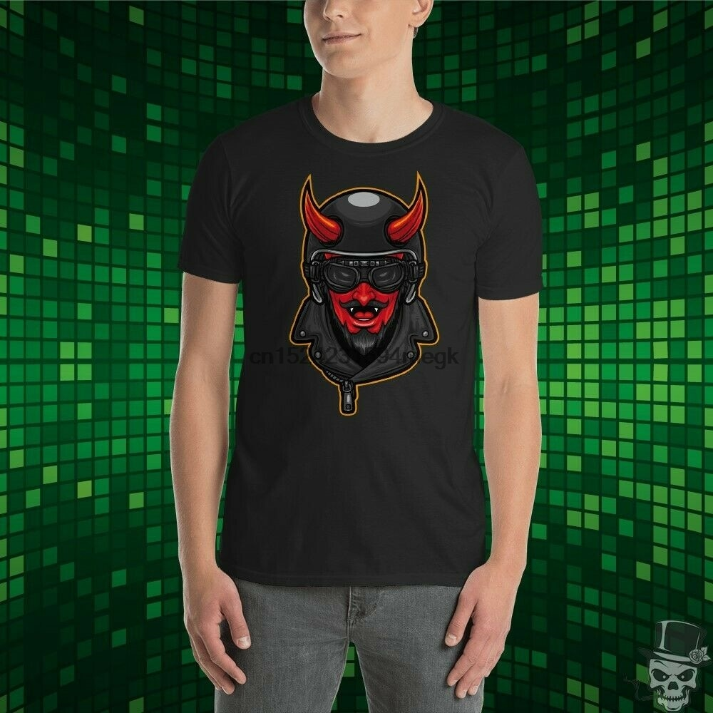 Oguz Simsek-Camiseta de piloto diabólico de dibujos animados, motocicleta, Biker Chopper (1)