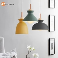 nordic pendant lights dining room pendant lamps colorful restaurant coffee bedroom lighting ironsolid wood e27 holder
