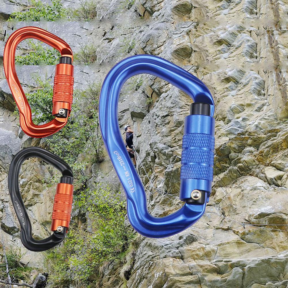 Climbing Carabiner Aluminum Alloy D-Ring Safety Buckle Carabine Rock Climbing Buckle Carabiner Hook Master Lock Climbing Tool