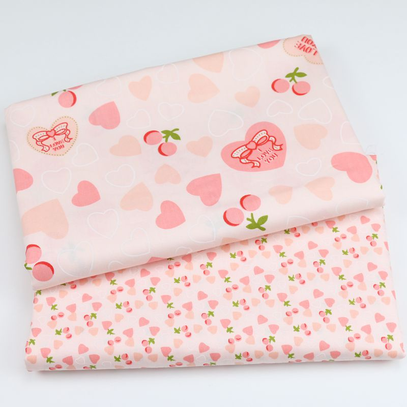 Pink Girl Dress Fabric Cartoon Heart Peach 100% CottonTwill Textile For SewingClothes Dresses AccessoriesByHalfMeter