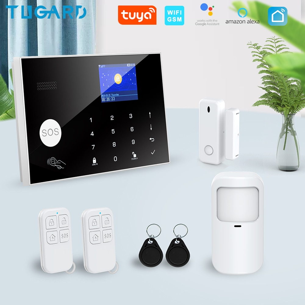 نظام إنذار أمان منزلي من Tugard Tuya لاسلكي يعمل بالواي فاي Gsm نظام إنذار ذكي لحياة أليكسا جوجل تطبيقات تحكم مع عدة كاشف استشعار