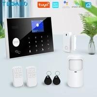 Tugard Tuya Wifi Gsm maison systeme dalarme de securite cambrioleur 433MHz applications controle LCD clavier tactile 11 langues Kit dalarme sans fil