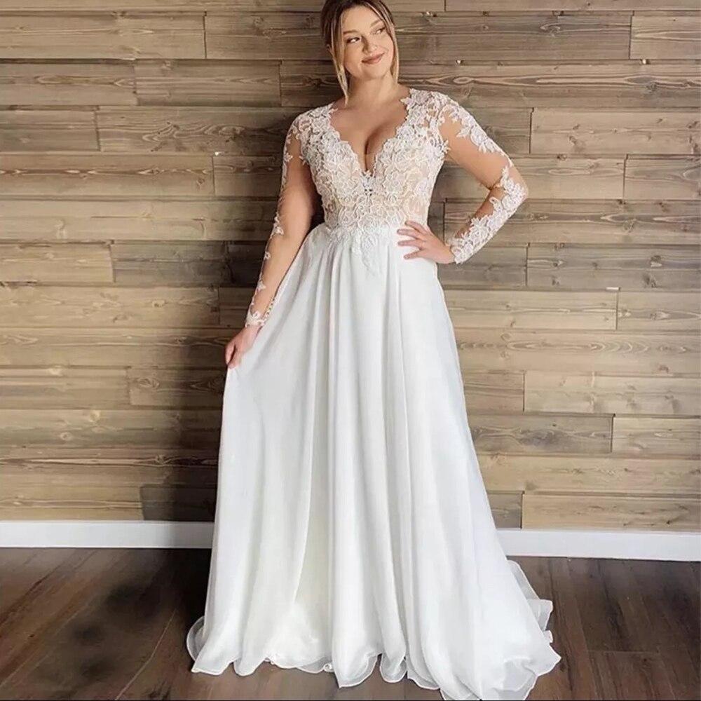 بسيطة حجم كبير فستان الزفاف الشيفون للمرأة طويلة الأكمام ألف خط الرسمي العروس زي العرائس زر الظهر مثير الخامس الرقبة Vestidos