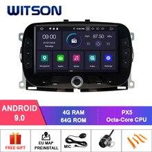 WITSON Android 9.0 IPS ekran HD samochodowe multimedia dla FIAT 500 2016-2019 GPS 4GB RAM + 64GB FLASH 8 Octa Core + DVR/WIFI + DSP + DAB + OBD