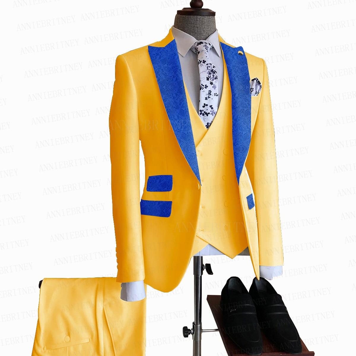بدلة رجالية صفراء ، نحيفة ، مخصصة ، زفاف ، حفلة موسيقية ، سترة مزدوجة الصدر ، سترة وسراويل ، فستان عشاء ، طقم سهرة ، موضة 2021