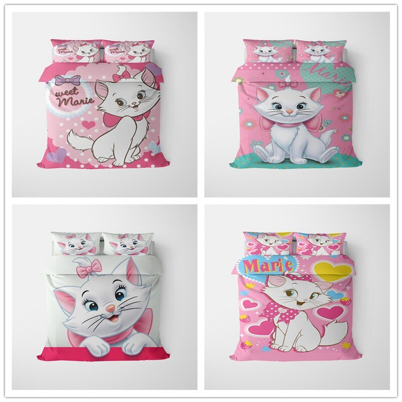Cartoon Marie cat Bedding Set 100%Polyester Lovely Couple Queen King Size Bedding Set Children Duvet Cover Pillow Cases