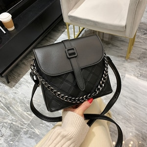 Fashion small bucket bag car stitching ladies bag casual shoulder bag solid color PU chain handbag messenger bag