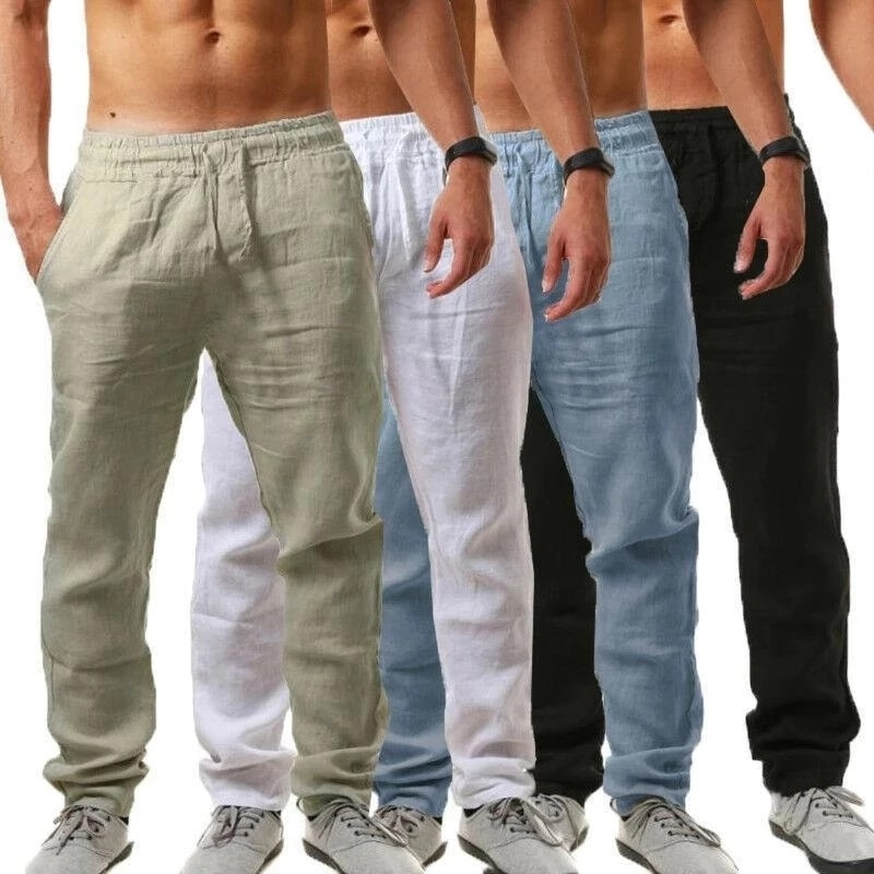 Мужские хлопковые льняные брюки, летние однотонные дышащие льняные брюки, мужские повседневные штаны с эластичной резинкой на талии, штаны ...