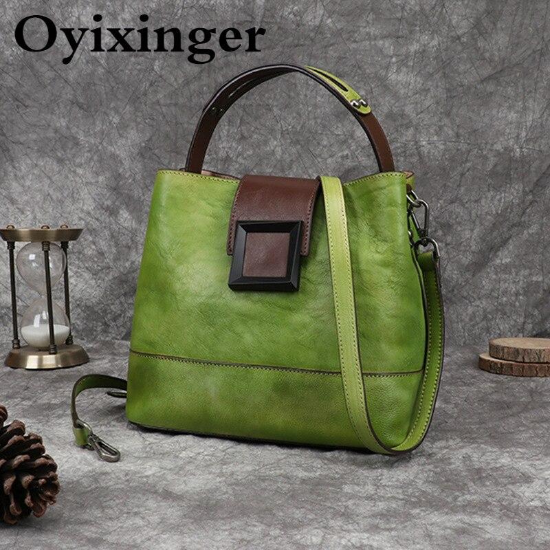 OYIXINGER ريترو المرأة حقيبة جلد طبيعي حقائب كتف للنساء اليدوية دلو حقيبة الإناث خمر الصين نمط حقيبة يد السيدات