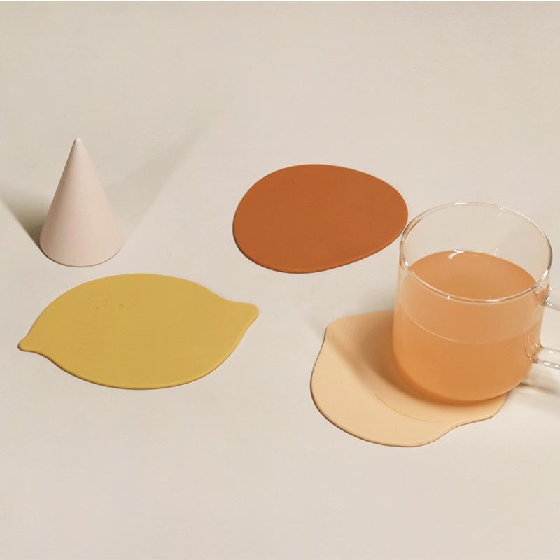 الإبداعية لطيف سيليكون الجدول الحصير الفواكه على شكل شرب الوقايات منصات مقاومة للحرارة قابل للغسل وعاء حامل صديقة للبيئة