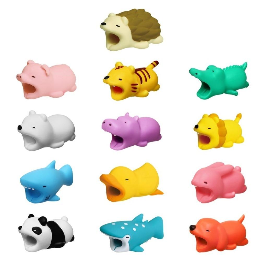 Adorável dos desenhos animados carregador cabo organizador caso protetor acessório dobadoura animal bonito boneca modelo engraçado para iphone samsung