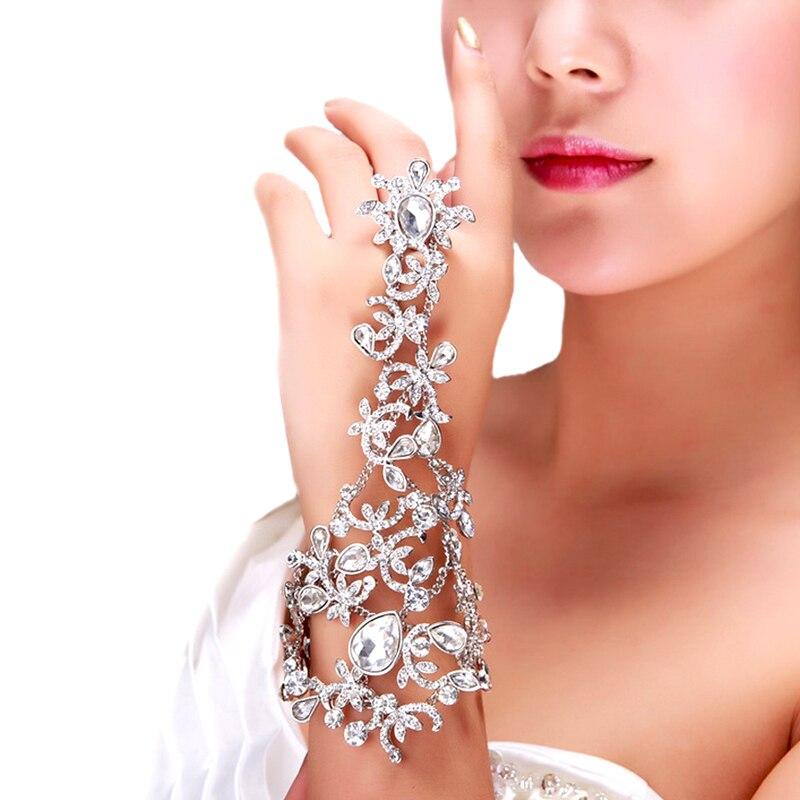 De cadenas de pulsera de diamantes de imitación de cristal largo brazaletes con borlas de la mano de la joyería para las mujeres de novia de cristal pulseras de declaración