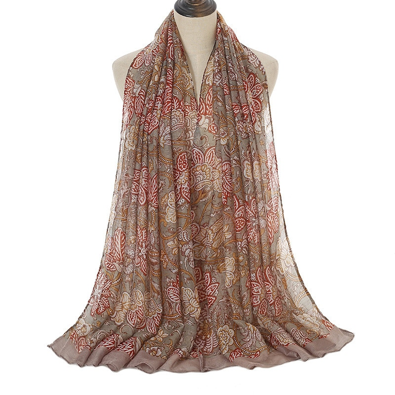2021 New Flower Scarf Fashion Vintage Cotton Viscose Muslim Hijab Women Long Shawl Wraps Floral Bauh