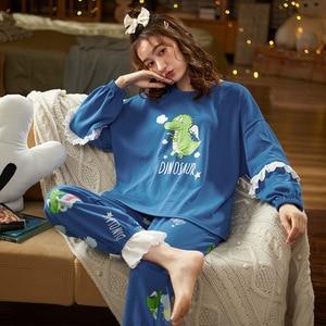 Женский пижамный комплект, мягкая хлопковая осенняя одежда для сна для девочек, домашняя одежда с голубым мультяшным динозавром для улицы, ночная рубашка с длинным рукавом
