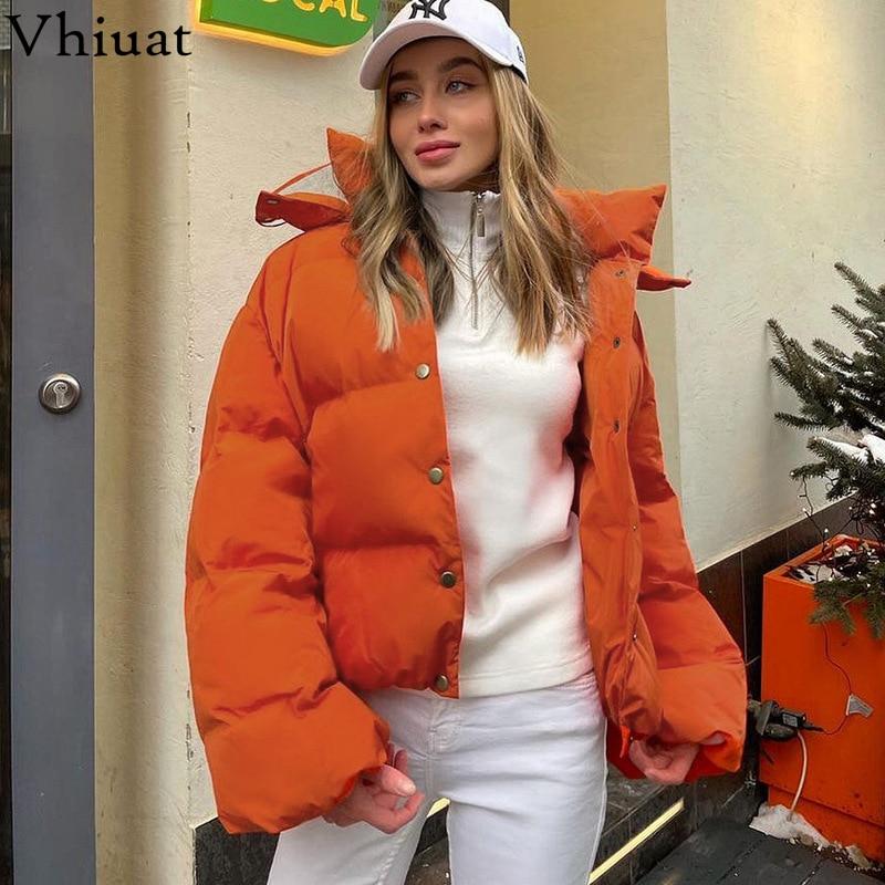 Vhiuat موضة 2021 سترات قصيرة بقلنسوة خضراء دافئة للنساء معطف طويل الأكمام فضفاض من القطن الأسود ملابس شتوية غير رسمية للنساء