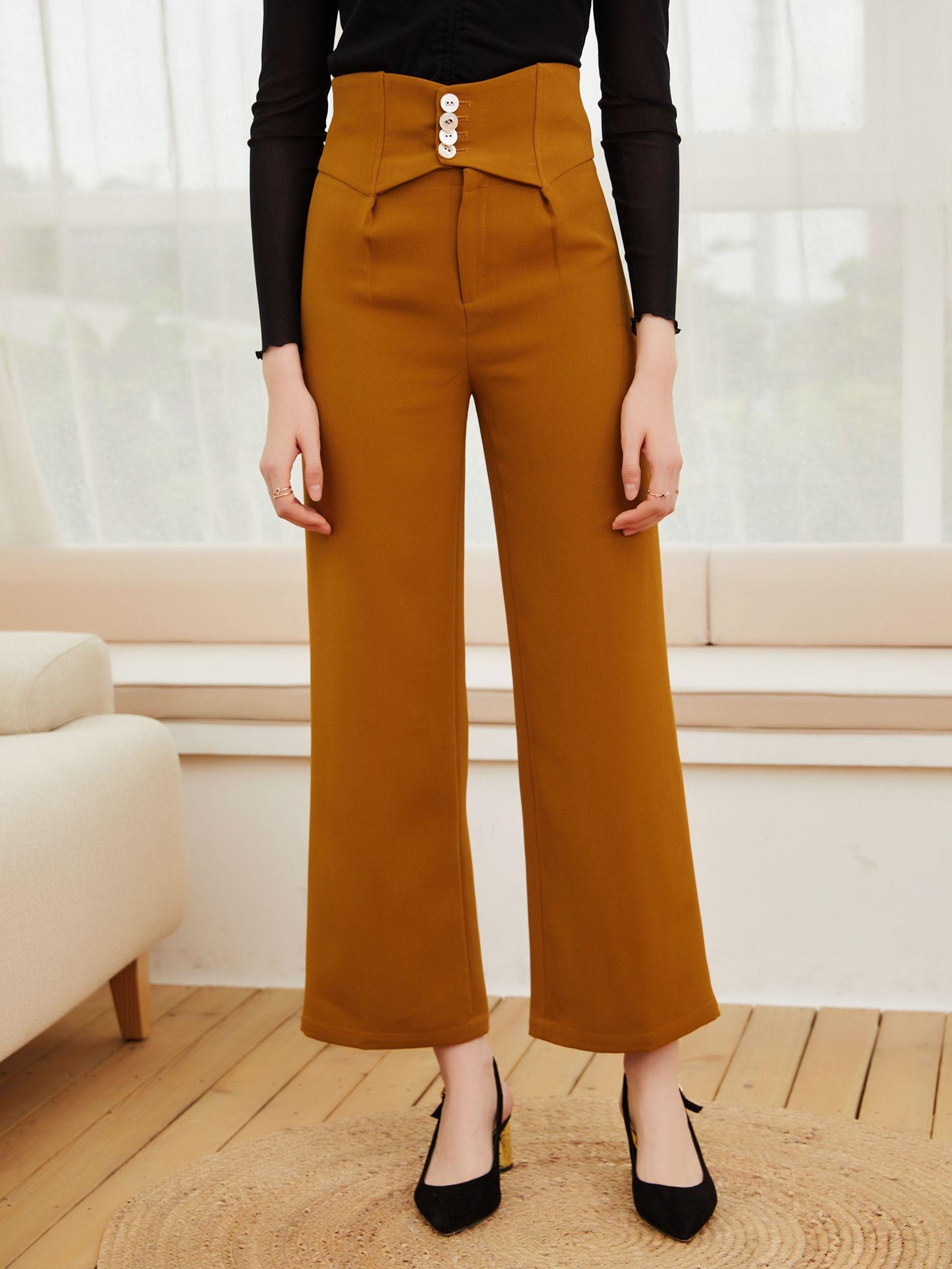 Строгий бренд женской одежды 2021 ВЕСНА Новинка осени удобные одноцветные штаны прямые брюки с высокой талией для темпераментных женщин
