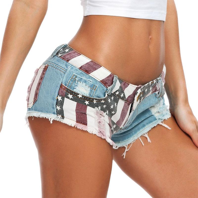 Summer Women's Low Waist Jeans Denim Sexy Hot Pants Nightclub Holes Skinny Club Party Dance Booty Feminino Pole Shorts