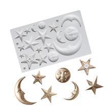 Moule de gâteau en silicone lune et étoiles   Outil de décoration de gâteau en silicone, fondant chocolat bougie de savon, moule de pâtisserie