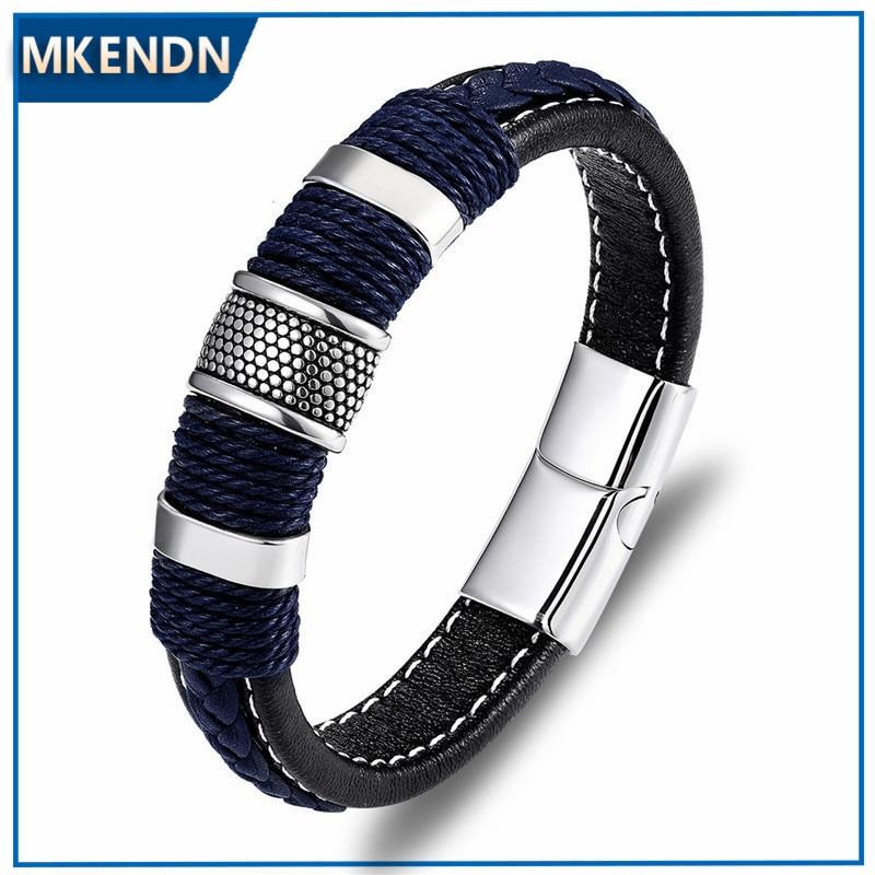 MKENDN Punk Multilayer Braid Genuine Blue Leather Bracelet Titanium Stainless Steel Magnetic Buck Bracelet Men Homme Pulseras нож buck hood punk микарта