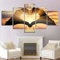 hd poster modern 5 panel ocean love hearts landscape canvas painting wall art print for living room home decoration no frame