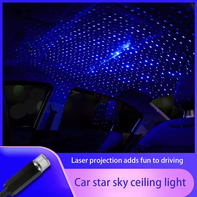 Telhado do carro estrela luz interior led estrelado projeção a laser luz usb led atmosfera luz interior projetor de teto luzes galáxia