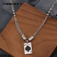 mewanry 925 sterling silver necklace for women new trend party playing cards ace of spades clavicle chain jewelry birthday gifts