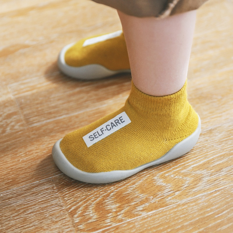 Anti-slip Unisex Baby Shoes First Shoes Indoor Rubber Sole Baby Walkers Toddler First Walker Baby Girl Kids Knit Booties