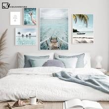 Affiche de voyage en toile imprimée, paysage de bateau, océan, Maldives, tropicale, soleil, plage, Art mural, image, décoration de maison moderne