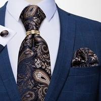 fashion paisley floral mens silk ties 8cm luxury business wedding necktie handkerchief cufflinks tie ring set men gift dibangu