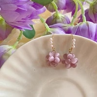 fashion jewelry purple pink beads earrings sweet temperament metal wire small freshwater pearl earrings for girl gifts