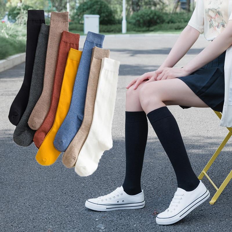 جوارب نسائية قطنية بطول الركبة ، لون عادي ، طالب ، حفلة ، شارع ، رقص