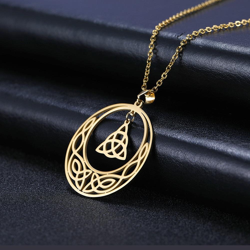Dawapara Vintage Celtics Hohl Cut Off Anhänger Halsketten Edelstahl Schmuck Vakuum Überzug Gold Amulett Freund Geschenk