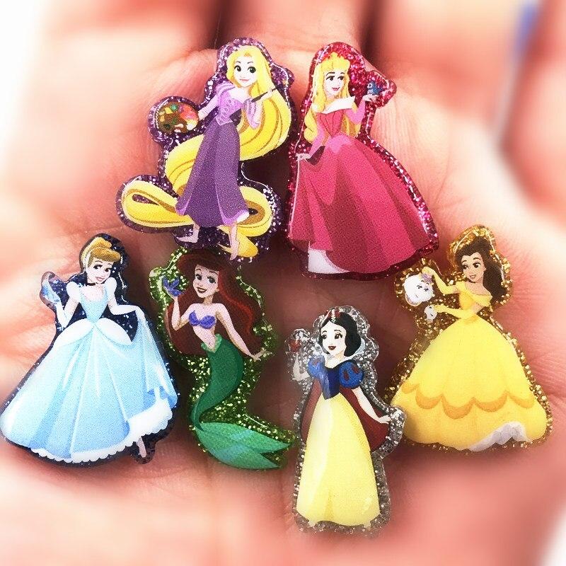 6 pçs/set dos desenhos animados novo design anna elsa ariel princesa ícone resina brilhando plana voltar acessórios trinket para diy colar jóias