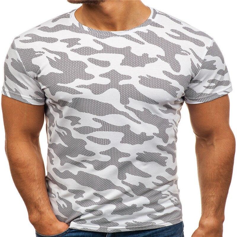 C1138-2020Summer Новые мужские футболки однотонные приталенные модные повседневные с коротким рукавом