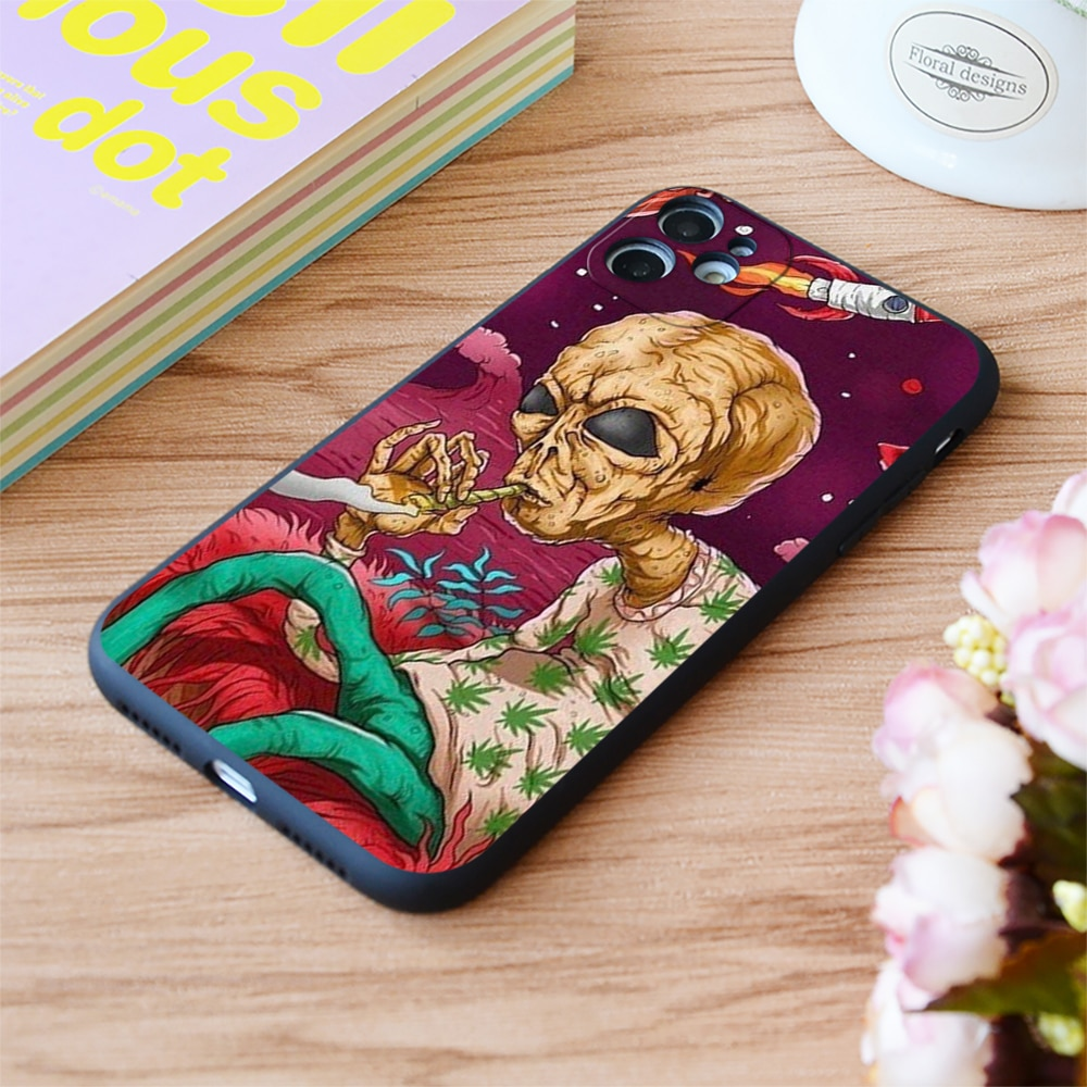 For iPhone Smoke Some Space Weed Print Soft Matt Apple iPhone Case For 6 7 8 11 12 Plus Pro X XR XS MAX SE