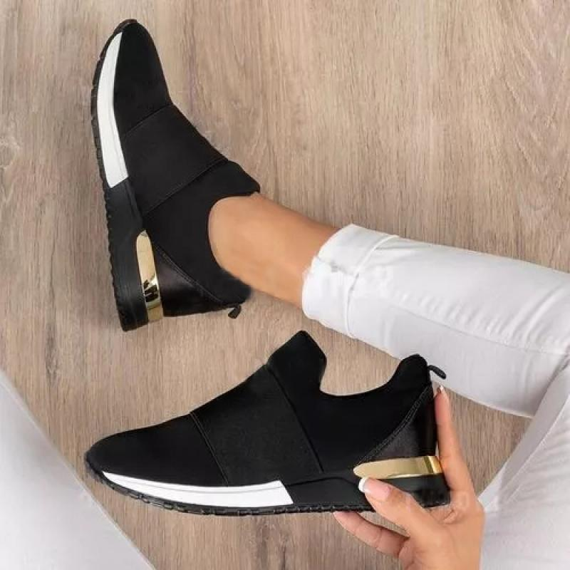 Running Shoes Sneakers Women Shoes 2021 Summer Ladies Solid Color Metal Decorative Vulcanized Shoes Fashion Breathable Slip On