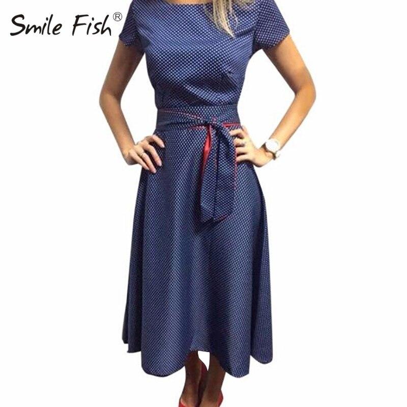 Vintage Polka Dot Short Sleeve Midi Dress Women Bandage A-Line Dress Elegant Party Dot Printed Femme Sashes Robe Plus Size GV173