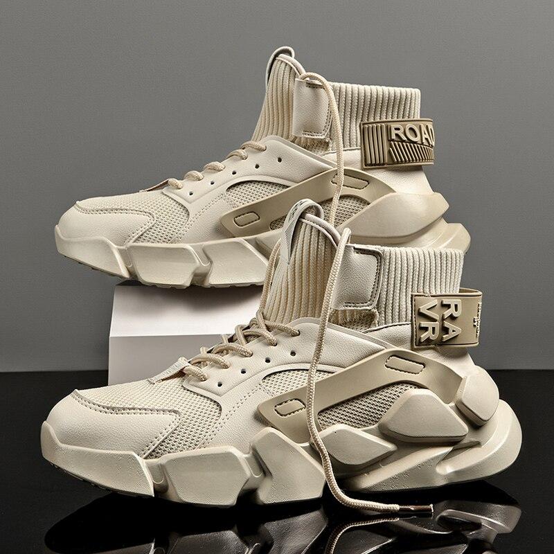 2021 الخريف عالية الجودة البيج الرجال أحذية رياضية مكتنزة حذاء رجالي زيادة موضة عادية حجم كبير Zapatillas توسيد أحذية تنس