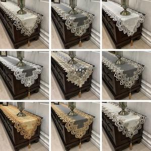 European Velvet Fabric Lace Embroidered Trim Chemin De Table Runner Flag Pad Home Luxury Hotel Villa Christmas Wedding Decor