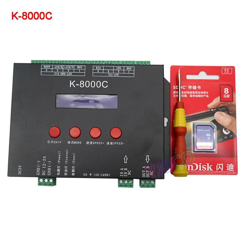 DC5V 12V 24V K-8000C off-line Programmable DMX/SPI SD card LED pixel controller for RGB full color led pixel light strip