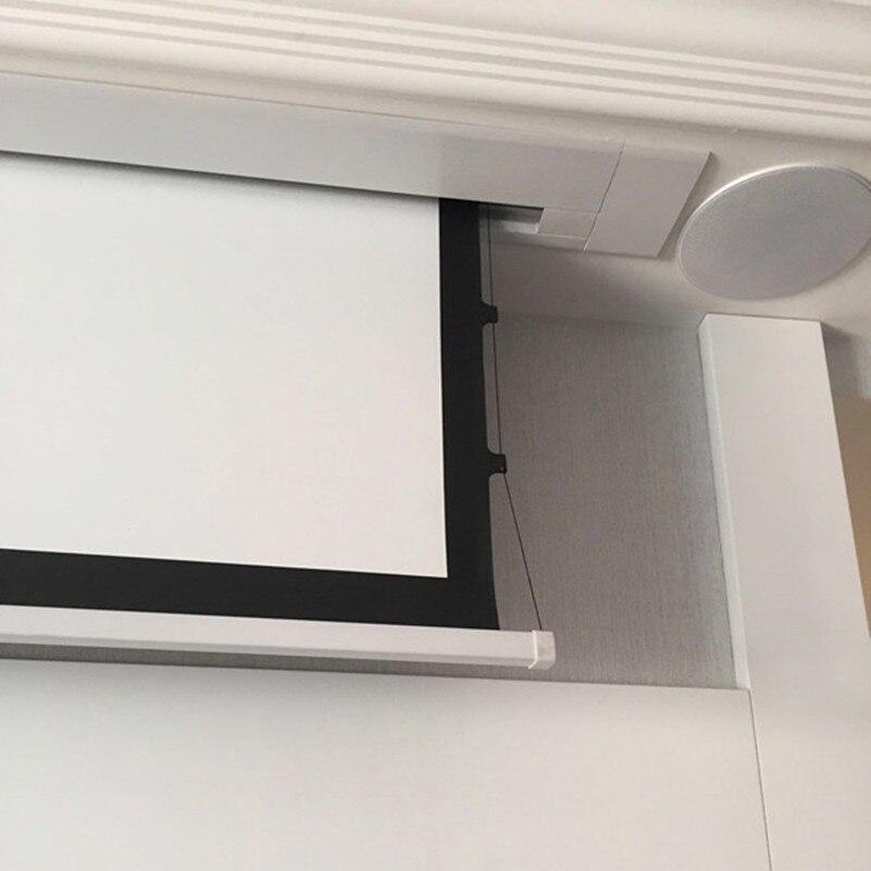 8k مخبأة في السقف شاشة بيضاء كهربائية مع أبواب الإغلاق بمحركات تبويب التوتر شاشة الإسقاط