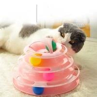 three levels pet cat toy training amusement plate kitten tower tracks disc cat intelligence amusement triple disc tumblers