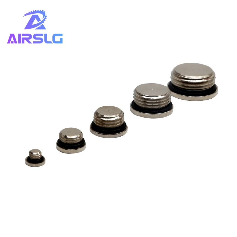 10Pcs/lot M5 1/8 1/4 3/8 1/2 3/4 copper inner hexagonal plug with sealing ring End Cap For Pneumatic