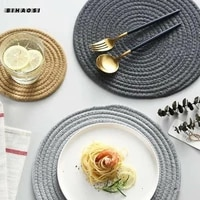 nordic style home kitchen woven hemp cotton rope table baking food background mat coaster western food insulation mat wholesale