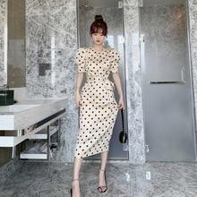 2020 summer new temperament bubble sleeve polka dot silk satin waist slimming dress Office Lady  Knee-Length