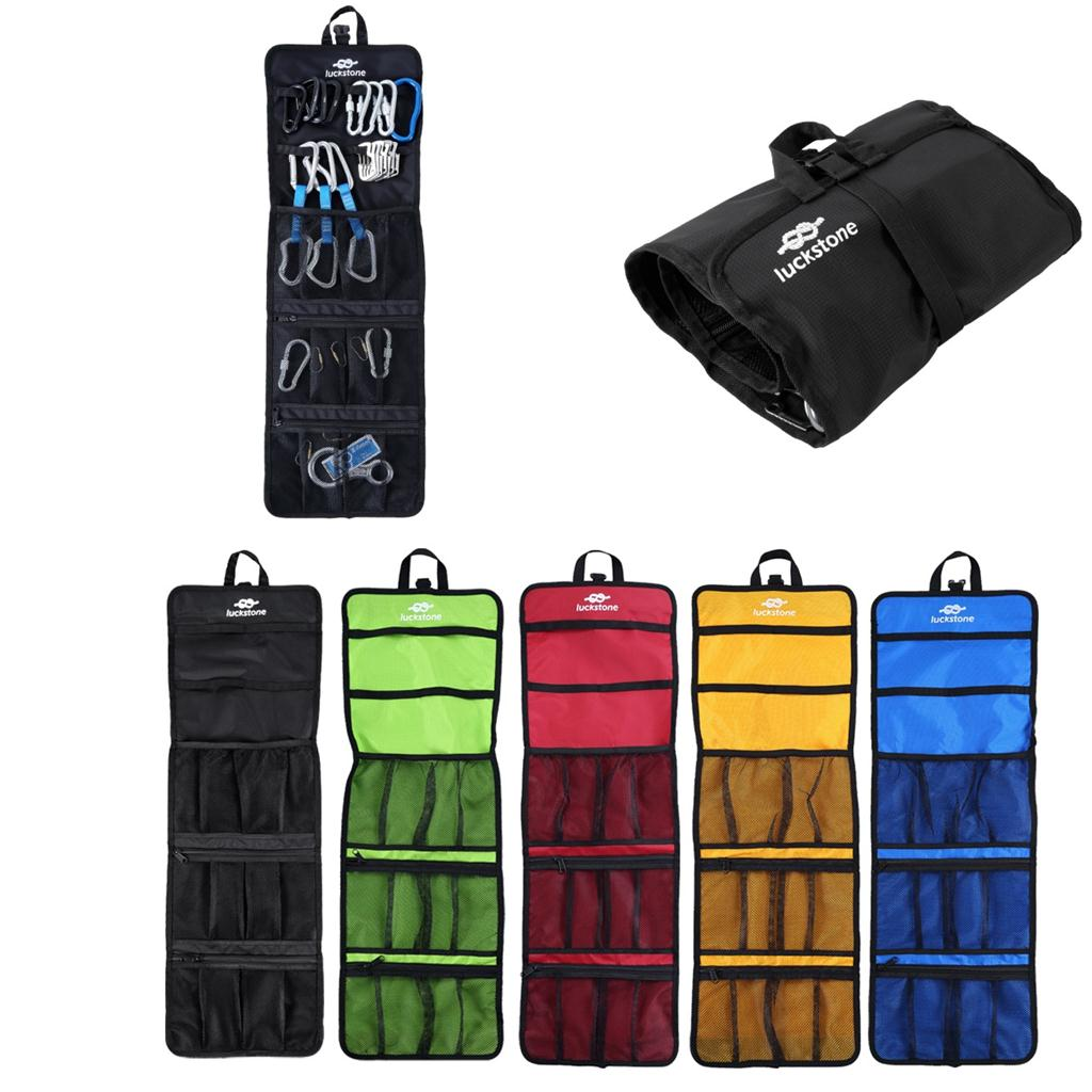 Outdoor Rock Climbing Carabiner Gear Equipment Collection Bag Package - Blue