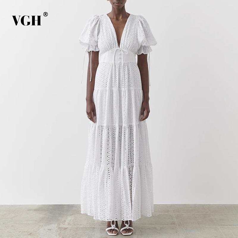 VGH ضمادة فستان أبيض أنيق للنساء الخامس الرقبة قصيرة الأكمام عالية الخصر Ruched الدانتيل يصل فساتين متوسطة الطول الإناث موضة جديدة نمط