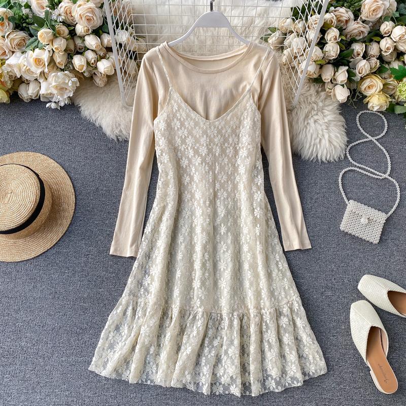 ICHOIX vestido de encaje + Camiseta de Primavera de 2 piezas, conjunto de 2 piezas, vestido de estilo coreano para mujer, conjunto de 2 piezas, ropa, trajes de niña