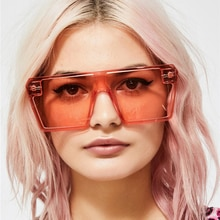 XaYbZc Oversized Square Sunglasses Women 2021 Luxury Brand Fashion Flat Top Red Black Clear Lens One