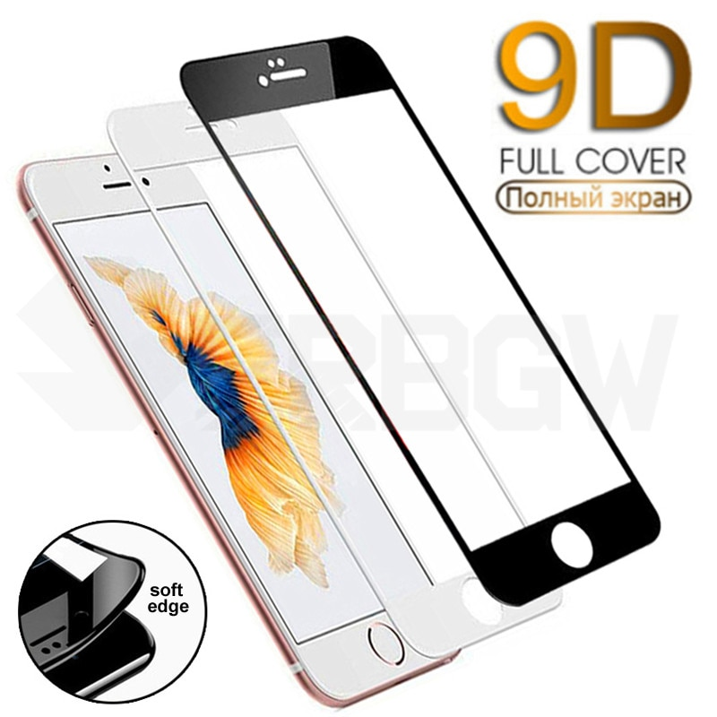 9D Curved Full Cover Tempered Glass On For iPhone 7 8 Plus Soft Edge Screen Protective Glass For iPh